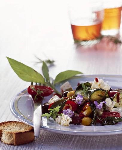 Antipasti: vegetables, feta and sage