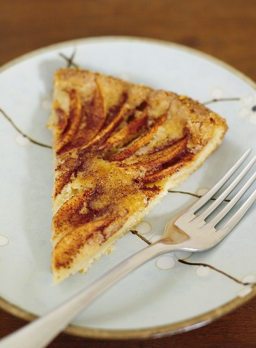 A piece of apple cake with cinnamon