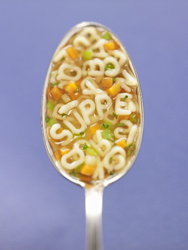 Alphabet soup in spoon