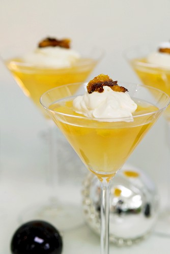 Orange jelly with whipped cream