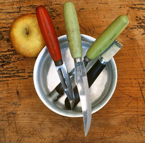 Fruit knife, peeler, zest grater and a corer