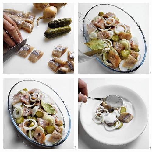 Preparing spicy herring snacks