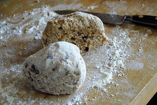Soda bread dough on a floured work surface