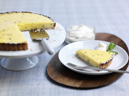 Passion fruit and quark tart
