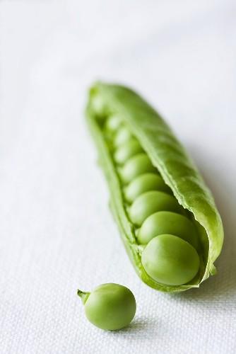 A pea pod, opened