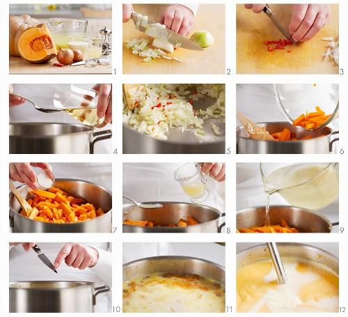 Kürbiscremesuppe zubereiten