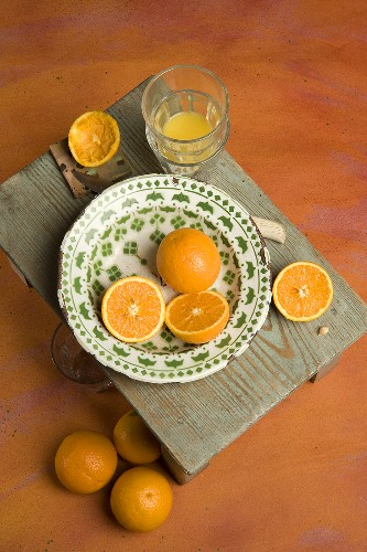 Slice orange with orange juice glass