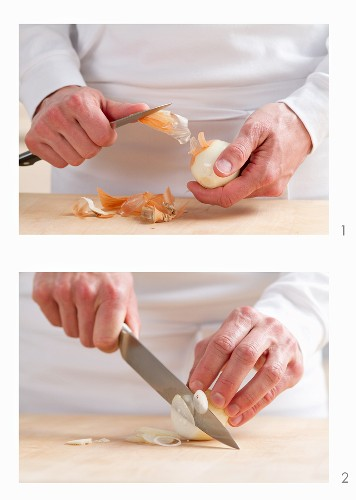 Peeling an onion and slicing into thin rings
