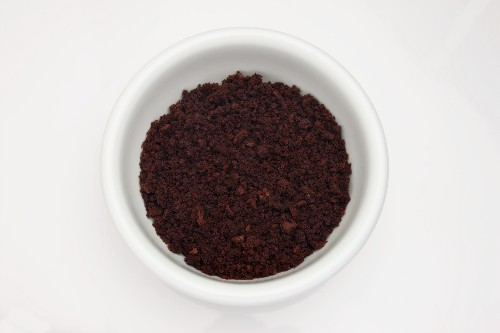 A bowl of crumbled chocolate cake (for making cake pops)