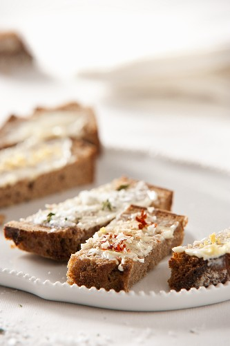 Bread with toppings and fleur de sel