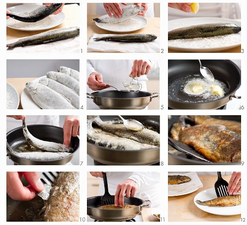 Preparing and frying trout