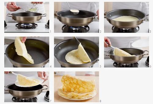 Pancakes being made