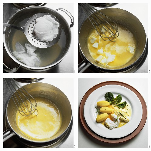 Preparing poached eggs with delicate mustard sauce
