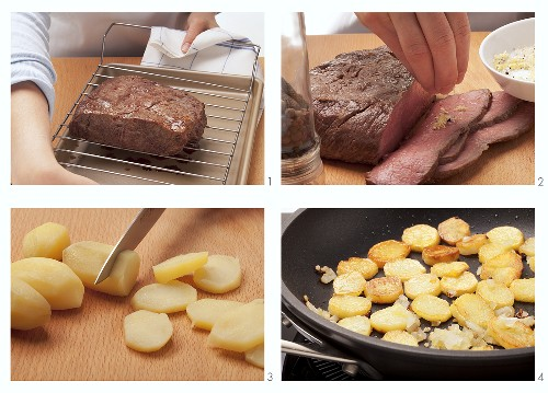 Roast beef and fried potatoes being prepared