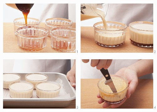 Coconut flavoured creme caramel being prepared