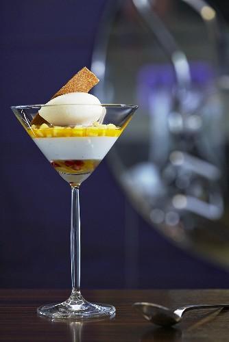 Yogurt cream with kumquats and banana sorbet