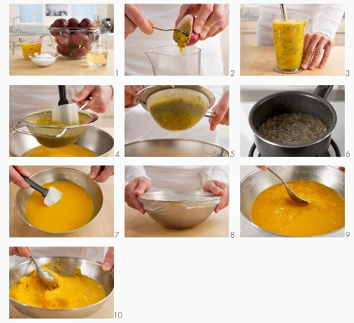 Passion fruit sorbet being prepared