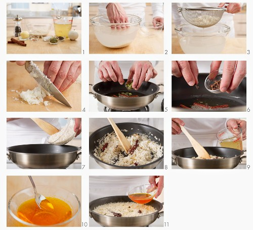 Saffron rice being prepared