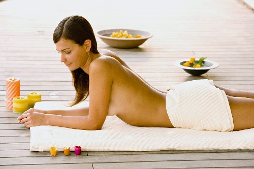 Half-naked woman relaxing