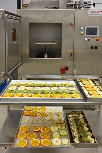 Testing fruit in food testing laboratory