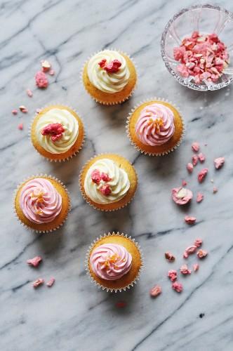 Crystallized rose petal cupcakes