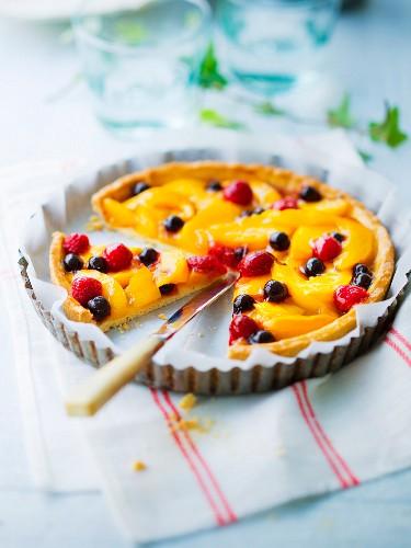 Peach and summer fruit tart