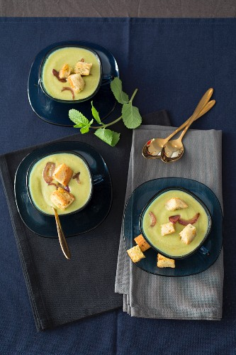 Green zebra tomato, cucumber and mint soup