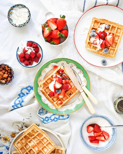 Waffles with summer fruit