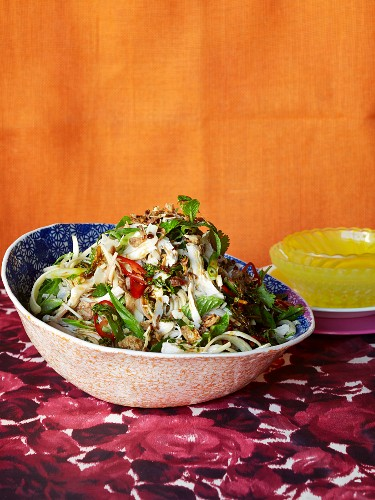 Thai banana flower salad with coconut chicken, chilli and mint
