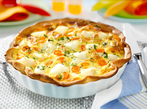 Coley and carrot quiche