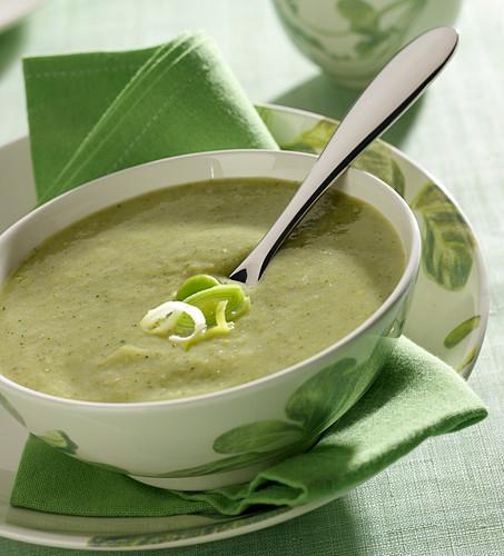 Cream of leek and broccoli soup