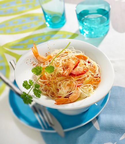 Angel hair pasta sauté with shrimps