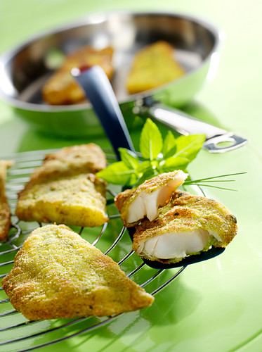 Whiting fillets in green batter