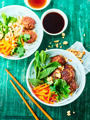 Vietnamese rice vermicelli salad with ground pork meatballs