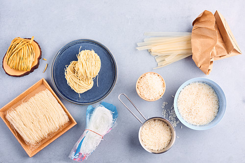 Assortment of rice and pasta