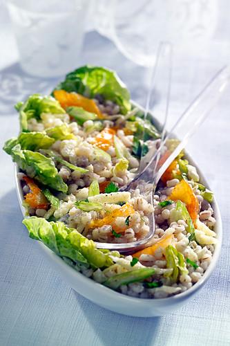 Pearl barley and haddock salad