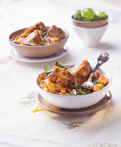 Chicken meatball and vegetable gratin