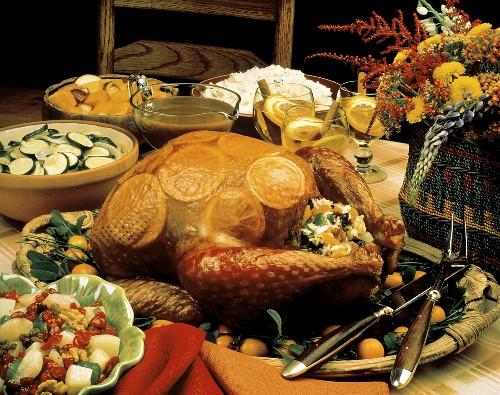 Roast Turkey with Orange Slices Under the Skin; Vegetables