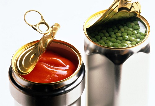 Canned red peppers and canned peas