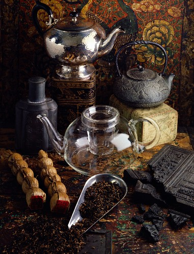 selection of teas and teapots
