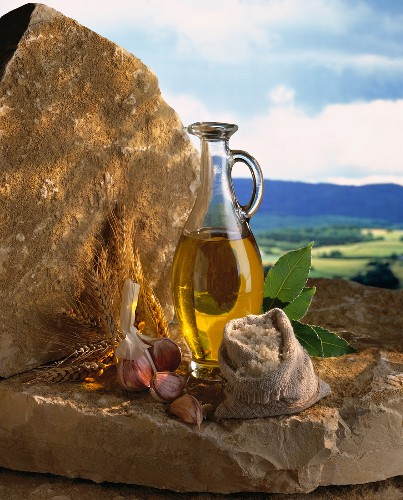 Olive oil, salt and garlic - products