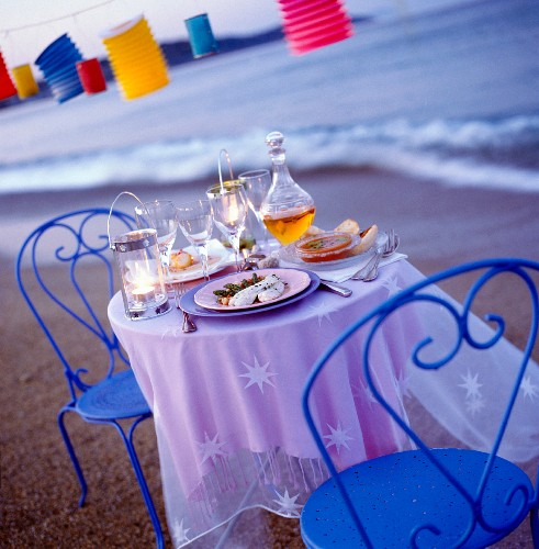 set table on shore