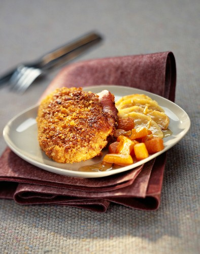 Chicken escalope with parmesan and Ginger bread crust