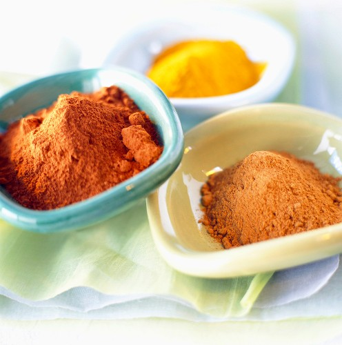Bowls of powdered spices