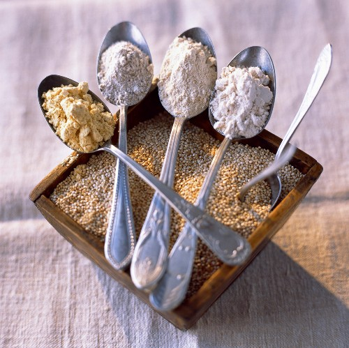 Quinoa grains, quinoa, rye, maize and brown rice flours