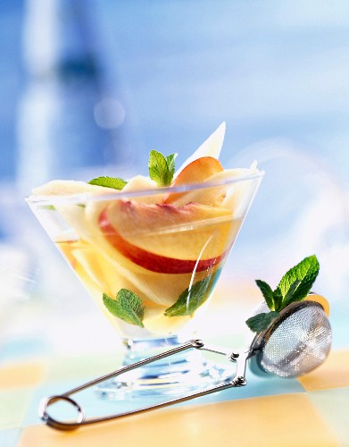 Pear and peach soup with mint