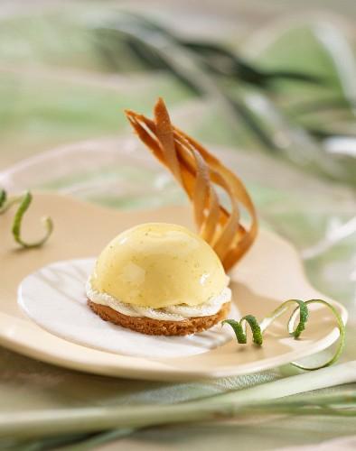 Coconut blancmange on biscuit