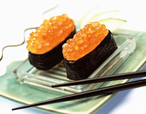 Sushi with salmon eggs