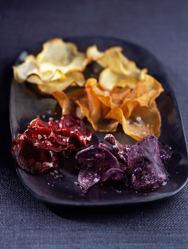 Beetroot, sweet potato and purple potato crisps