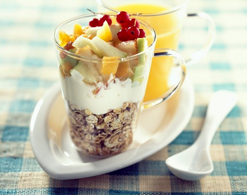 Fromage blanc with muesli and fruit salad